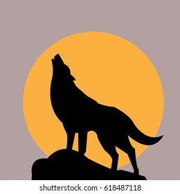 wolf icon and the moon - vector illustrator