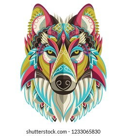 Wolf icon.  Stylized colorful wolf portrait on white background