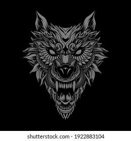 wolf illustration tattoo style and tshirt design