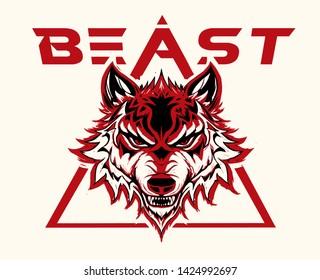 wolf illustration varsity college sports fitness bodybuilding retro vintage style logo tee print textile graphic design