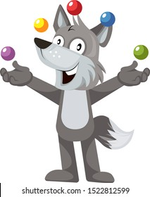 Wolf juggling, illustration, vector on white background.