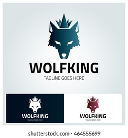 Wolf King logo design template ,Wolf Head logo design concept , Vector illustration