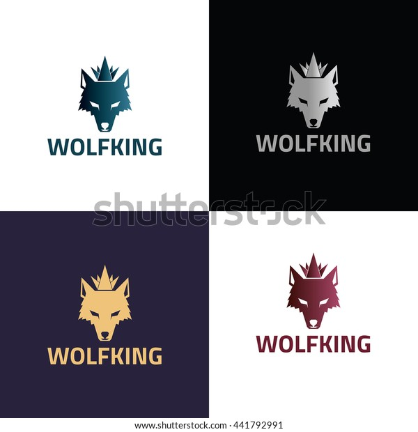 Wolf King Logo Design Template Wolf Stock Vector (Royalty