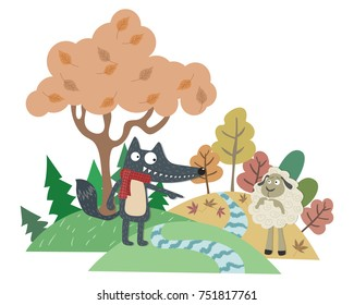 The Wolf and the Lamb. Aesop fairy tale illustration. Cartoon vector for fairy tale story and book. Wolf and sheep with pastel background.