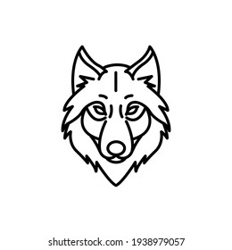 Wolf Line Icon Isolated On White Background