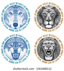 WOLF and LION Animal head print