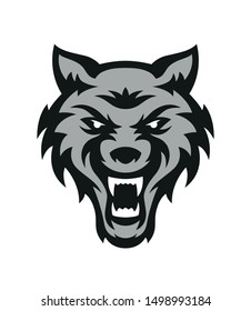 Wolf Logo. Animal head symbol or icon. Retro label. Sport emblem. Hand crafted vector illustration. Logotype template. Active design.