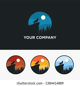 Wolf logo design with flat stye