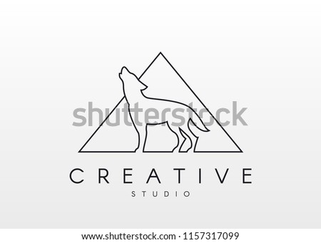 wolf logo linear logo form wolf stock vector royalty free