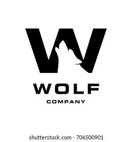 Wolf Logo. wolf as a part of letter w. negative space