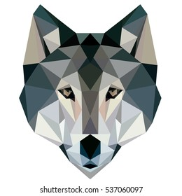 Wolf low poly, design geometric, animal illustration vector.
