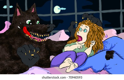 A wolf man scares a blonde woman