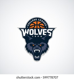 Wolf mascot for a basketball team on a white background. Vector illustration.