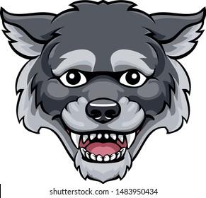 A wolf mascot friendly cute happy animal cartoon character