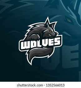 wolf mascot logo design vector with modern illustration concept style for badge, emblem and tshirt printing. angry wolf illustration for sport team.