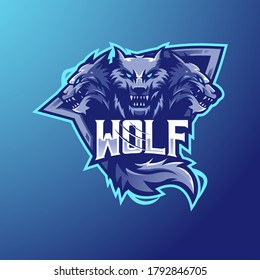 wolf mascot logo design vector with modern illustration concept style for badge, emblem and t shirt printing. three wolf illustration for sport and e-sport team.