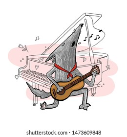 Wolf musician, singer, plays guitar, piano, lover, sings Serenade, vector graphics characteristic design, romance, greeting card