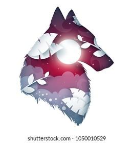 Wolf origami illustration. Cartoon night landscape. Vector eps 10