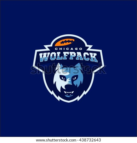 Wolf Pack American Football Team Logo Stock Vector Royalty Free