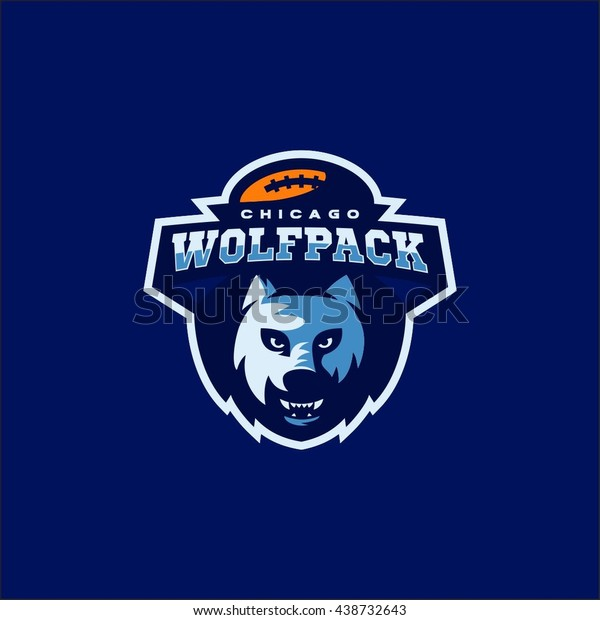 Wolf Pack American Football Team Logo Stock Vector (Royalty Free