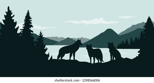wolf pack by the river green forest wildlife nature landscape vector illustration EPS10