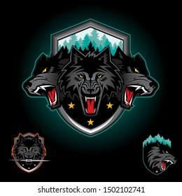 Wolf pack emblem logo badge. vector illustration. editable layers