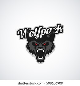 Wolf pack mascot for a sport team on a white background. Vector illustration.
