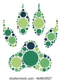Wolf paw print shape vector design by color point