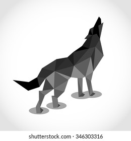 wolf in Polygon style. low poly design in triangles