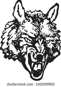 Wolf - Retro Ad Art Illustration of Wild Animal