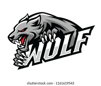 wolf roar gripping the text logo illustration