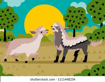 Wolf in sheep's clothing and sheep