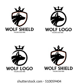 Wolf shield logo design template ,Wolf logo design concept ,Vector illustration