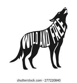 Wolf silhouette with concept text inside Born to be wild on blur background. Vector illustration