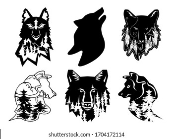 Wolf silhouette with forest and mountain inside