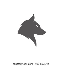 Wolf silhouette isolated on white background vector illustration. Wolf head vector graphic emblem.