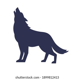 Wolf silhouette isolated on white, wild animal, logo with wolf, vector image