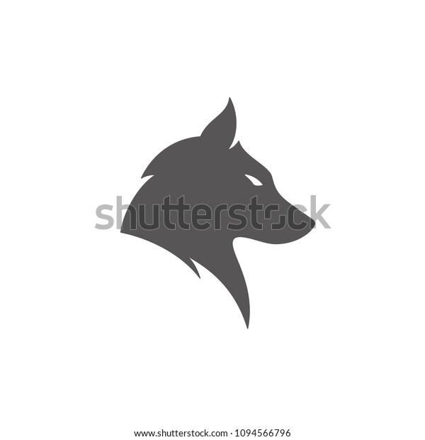 白い背景に狼のシルエット ベクターイラスト ウルフの頭のベクター画像のエンブレム のベクター画像素材 ロイヤリティフリー