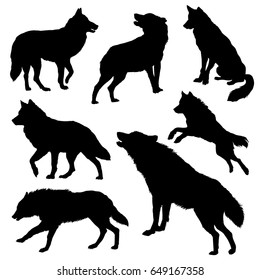 Wolf silhouette set. Vector illustration