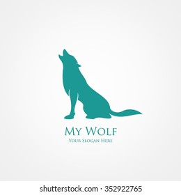 Wolf Silhouette. Vector Illustration. Great for Logo, Material Print, Greeting Card