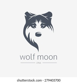 Wolf  silhouette. Vintage wolf face logo emblem template template for business or t-shirt design. Vector wolf Vintage Design Element. Wolf logo. Wolf icon.  Black silhouette wolf.