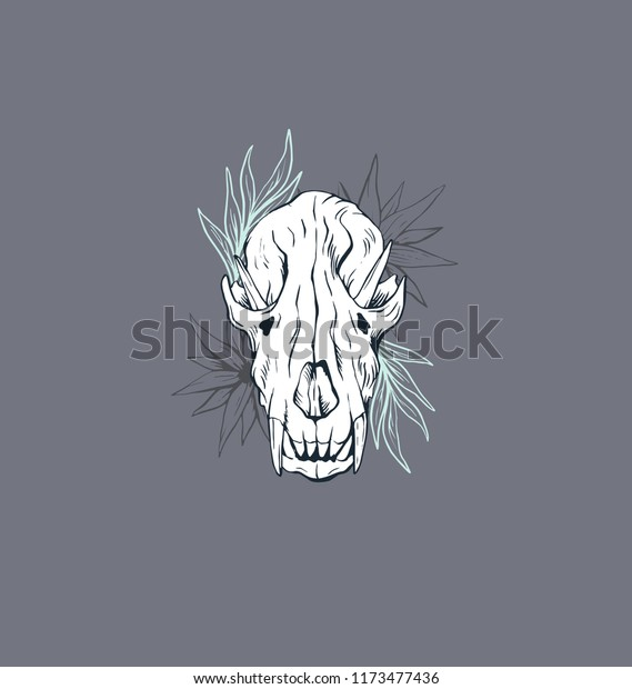 Wolf Skull Ink Illustration Print Design Stock Vector
