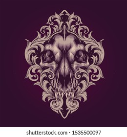 THE WOLF SKULL WITH ORNAMENT ILLUSTRATION