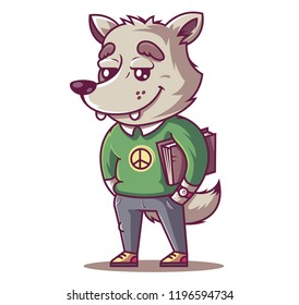 the wolf smiles. young student with a book. vector illustration