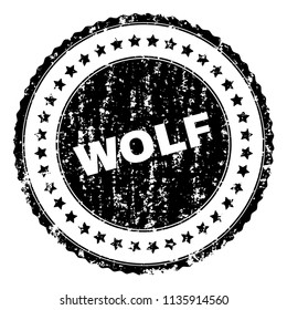 WOLF stamp seal watermark with distress style. Black vector rubber print of WOLF text with scratched texture. Rubber seal imitation has circle shape and contains stars.