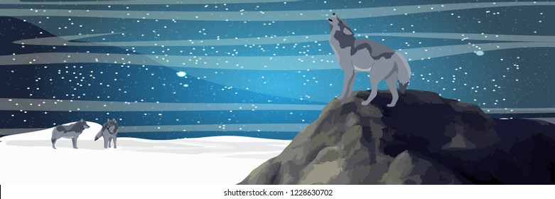 A wolf stands on a rock and howls at the moon. A pack of wolves in a winter valley. Starry northern night. Realistic Vector Landscape