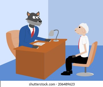 Wolf in a suit talking to a sheep white collar worker