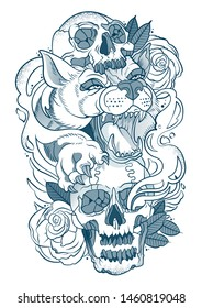 wolf tattoo with human skulls and roses