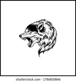 wolf tattoo icon animal black vector illustration