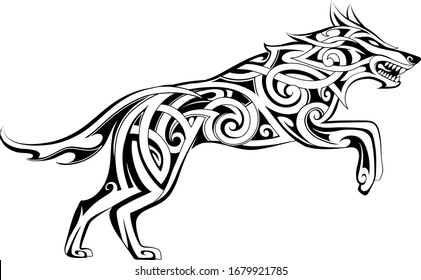 Wolf tattoo in traditional Celtic style